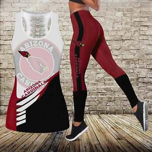 Arizona Cardinals 2PCS Women Tank Top Leggings Gym Workout Stretch Yoga Sets