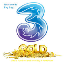Three Gold PAYG SIM Card VIP Easy Number Pay As You Go Memorable Mobile Number