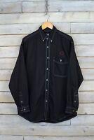 """Vintage Lee Camisa Denim """"Sabres"""" Negro (L)"""