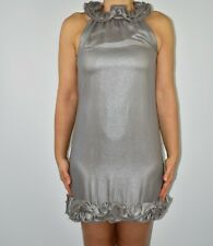 Ted Baker Metallic Dress Mini Grey Holiday Party Sparkly Size 1 UK 8 10  AR