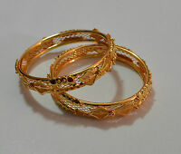 Indian Women Traditional Gold Plated Bangles Bracelet Churi Set of 2 Jewelry