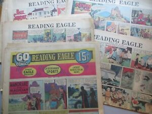 HUGE LOT of 56 Pages Reading (PA) Eagle Sunday Comics from 1955