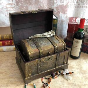 Vintage Wooden Pirate Treasure Chest Box Jewelry Trinket Keepsake Storage Case