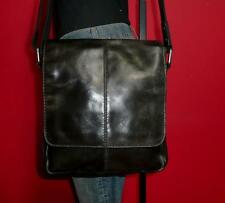 "FOSSIL ""Jackson"" City Leather Black Unisex Messenger Satchel Tote Crossbody Bag"