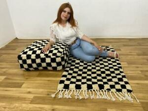 Bohemian Pouf Cactus Wool Floor Handmade Footstool Shaggy Ottoman Pouf Checkred