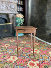 Vintage Mini Dollhouse Museum Artisan Signed Delicate Wood Night Stand Table