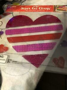 VALENTINE'S DAY SUPER GEL CLINGS REUSABLE WASHABLE FOR WINDOWS ONLY, - NEW.