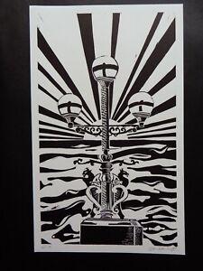 Original Limited edition lino-cut Trefechan lamp Aberystwyth Sun rays & Sea 4/10