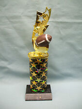 all star football theme topper black and gold star column black wood base trophy