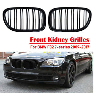Front Kidney Grille Gloss Black Twin Slat For BMW 7-Series F01 F02 740i 13-16