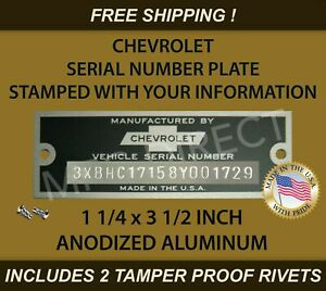 CHEVY CHEVROLET SERIAL NUMBER DATA TAG ID PLATE STAMPED WITH YOUR INFORMATION