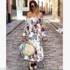 Zara Floral Largo off-the-hombro vestido crudo Talla L UK 12 REF.4437/098 SS17