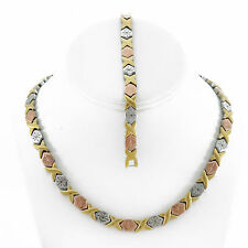 Womens 3 Tone Hugs and Kisses Necklace Bracelet Set Stainless Steel Stampato 18""