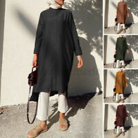 ZANZEA Womens Muslim Long Sleeve Crew Neck Tops Casual Loose Plain Shirt Blouse