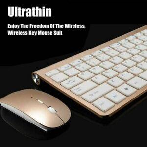 Kabellose Tastatur und Maus Set 2,4GHz Funkmaus mit Wireless Keyboard Golden DE