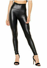 Black Wet Look Leggings High Waist Faux Leather Ladies Stretch Pant PVC Trousers