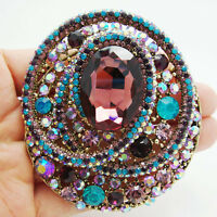 Vintage Style Colorful Rhinestone Crystal Oval Brooch Pin Luxury Crystal Jewelry