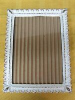 Mid Century White & Gold w Coppery Flecks Metal Photo Frame Free Standing T22