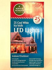 Led Icy Icicle Lights Holiday Wedding Indoor/Outdoor Set 25 Cool White String