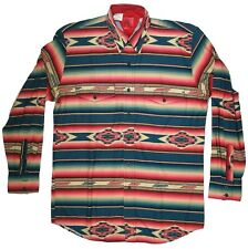 Vintage Roper Native American Western Cowboy Shirt Medium Milticolor Button Down