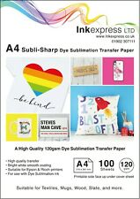 More details for 120gsm a4 dye sublimation heat press paper 100 sheets ideal for mugs t-shirts