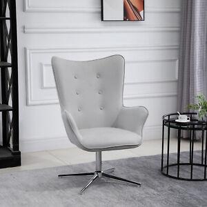 HOMCOM Retro Leisure Chair Metal Base Swivel High Comfort for Home Office Grey