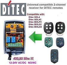 DiTec GOL4/4C BIXLP2/S2/G4 Compatible 2-channel Receiver 12-24V AC/DC 433.92MHz