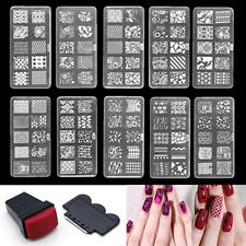 US_ Nail Art Stamp Stencil Stamping Template Plate Set Tool Stamper Design Kit