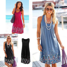 Womens Boho Floral Sleeveless Ladies Summer Holiday Beach Loose Midi Long Dress