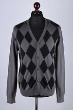 Ben Sherman Diamond Pattern Button Front Cardigan Jumper Size L