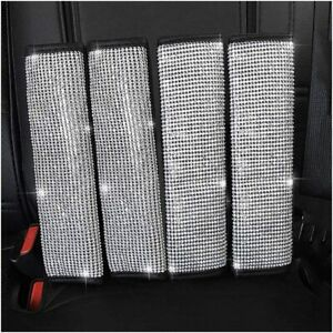 4pc Bling Rhinestones Crystal Car Safety Seat Belt Shoulder Pads Covers Cushions