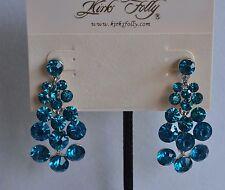 Kirks Folly Aqua Earrings In Silver Tone
