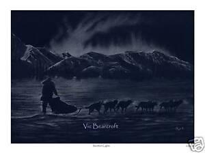 'Northern Lights', Siberian Husky Limited Edition Print by Vic Bearcroft