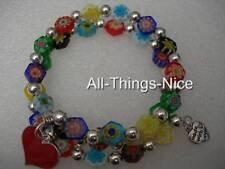 MILLEFIORI Murano Flower Glass Love Heart Charm Wrap Bangle Bracelet Jewellery