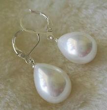 charme 12x16mm Tropfenform weiße Schale Perlen ohrring / Drop Ohrringe