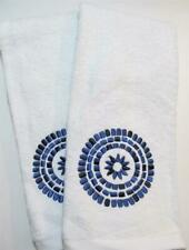 Modern Bathroom WATERFALL Hand Towel Set of 2 White w Blue Embroidered Medallion
