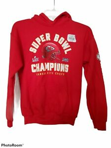 Kansas City Chiefs NFL Fanatics Super Bowl LIV Champions Pullover Hoodie Kids L