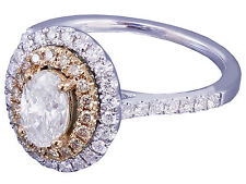 1.10ct 14k White and Rose Gold Oval Cut Diamond Engagement Ring Bridal Set Halo