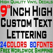 """Personalized 9"""" Custom Text Name Vinyl Decal Sticker Car Wall 16x Lettering max"""
