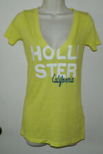 Women Cotton Hollister Cap Sleeve Long Solid Yellow Casual Shirt Size XS