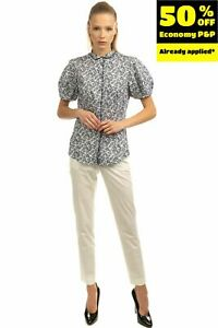 RRP €160 CALIBAN Shirt Size IT 42 / S Two Tone Floral Puff Sleeve Mini Collar