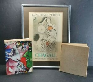 """1951 CHAGALL Exhibition Poster Kunsthaus Zurich Museum """"Le Cochet Gris"""" Framed"""