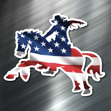 (1) American Flag Cowboy Vinyl Decal Sticker Car United States Horse Usa Us New
