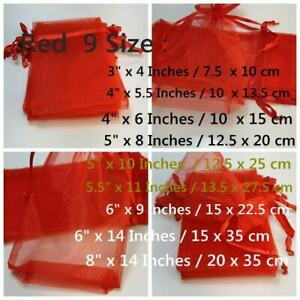 Red Organza Gift Favour Bags   Jewellery Pouches   Drawstring Bags   9 sizes