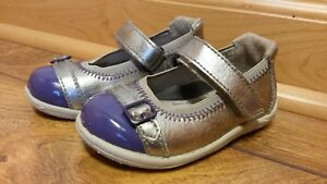 Stride Rite Toddler Size 4.5 Chandra Silver/Purple Mary Jane Shoes