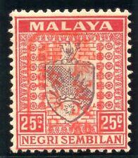 Malaya Jap Occ 1942 KGVI 25c dull purple & scarlet (red ovpt) MLH. SG J170a.