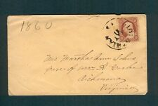 "BROWN ""MIDLOTHIAN Va. MAY 11"" cancel on 1860 cover to Wm A. Cocke in Richmond"