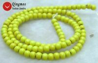 "4mm Yellow Round Natural TURQUOISE Beads for Jewelry Making Strand 15"" los615"
