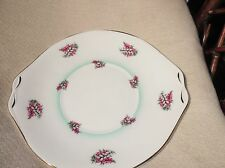 ELEGANT GILDED TAB CAKE PLATE QUEEN ANNE PINK & WHITE LUCKY HEATHER AQUA RING