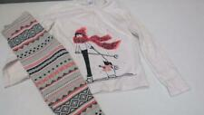 GYMBOREE Polar Pink 2pc Girl Skiing Penguin Shirt W/ Leggings Size 6 EUC TL39